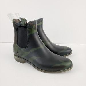 J. CREW Matte Camo Chelsea Ankle Rain Boots 7